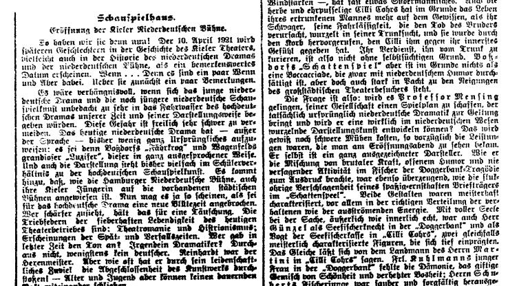 Kritik zur Eröffnungsvorstellung der NBKiel im Schauspielhaus am 10. April 1921