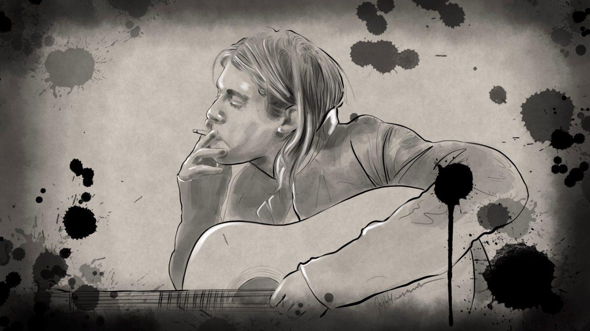 Illustration von Kurt Cobain in Schwarz-Weiß